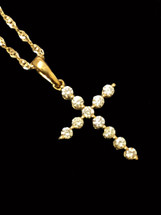 10K Gold 0.54ct diamonds cross with 10K gold chain