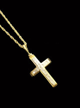 10K Gold cross 0.05ct diamonds with 10k gold chain