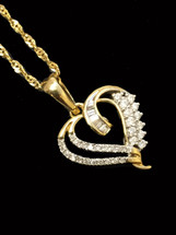 10K gold Heart Pendant 0.20 ct diamonds with 10K gold Chain