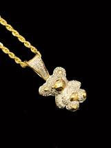 10K gold 0.35ct diamonds Teddy Bear Pendant with chain