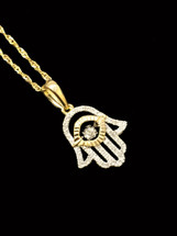 10K gold 0.20ct Diamonds Hamsa Pendant with Chain