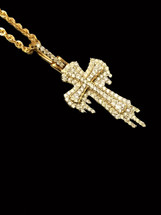10K Gold 0.65ct diamonds cross with Chain