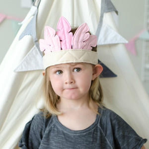 Feather Crown 'Pink/Beige' by Oskar & Ellen