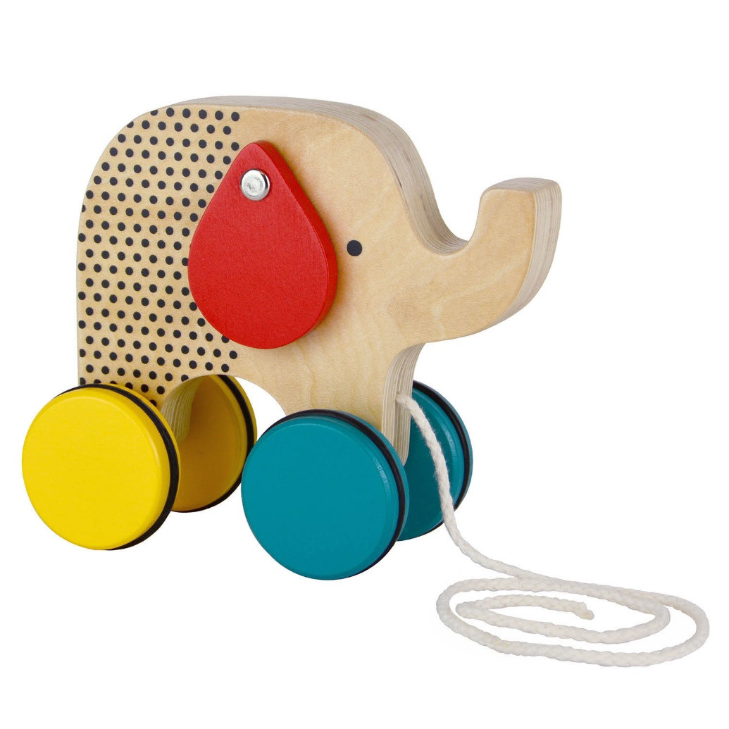 Elephant-Pull-Along-Wooden-Toy-Petit Collage