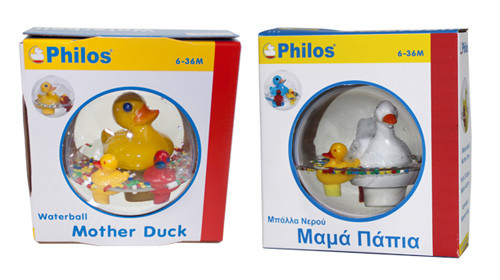 Water-Ball-Bath-Toy-White-Mother-Duck-Philos-box