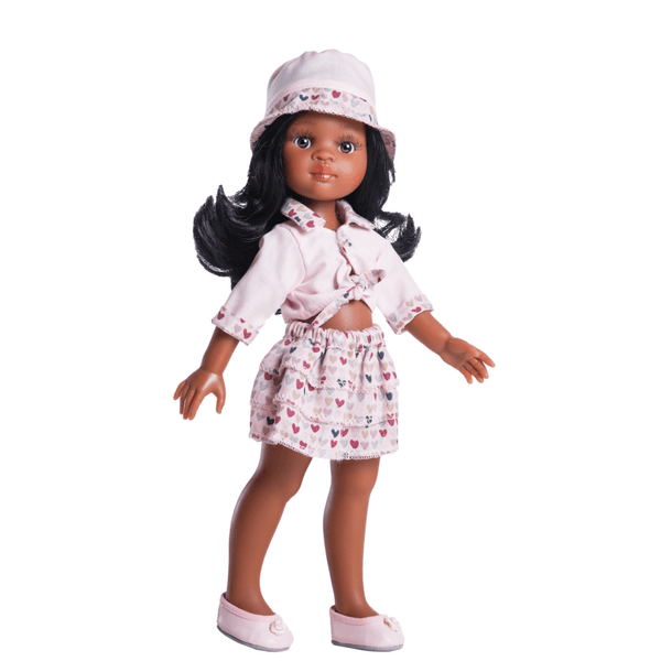 Paola-Reina-African-Doll-Nora-Pink-Heart-Outfit