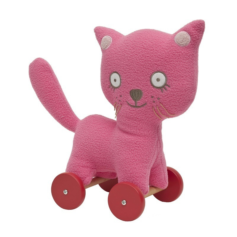 Trousselier-Soft-Toy-Cat-Pull-Along-toy-fuchsia