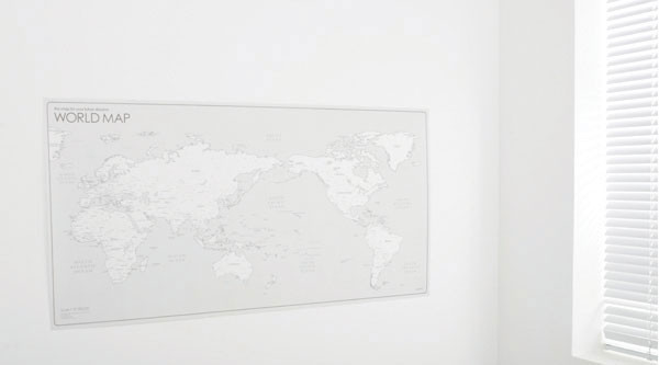 World Map- White On Wall