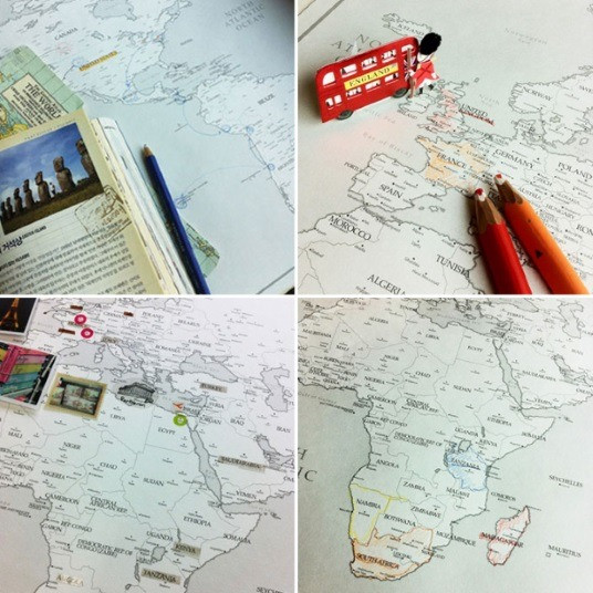 World Map- White  with Activities