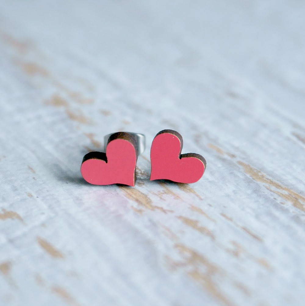 Laser Cut Wooden Stud Earrings 'Hearts'- Watermelon