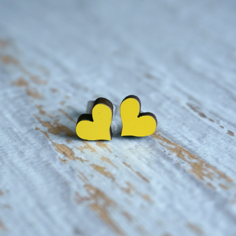 Laser Cut Wooden Stud Earrings 'Hearts'- Yellow