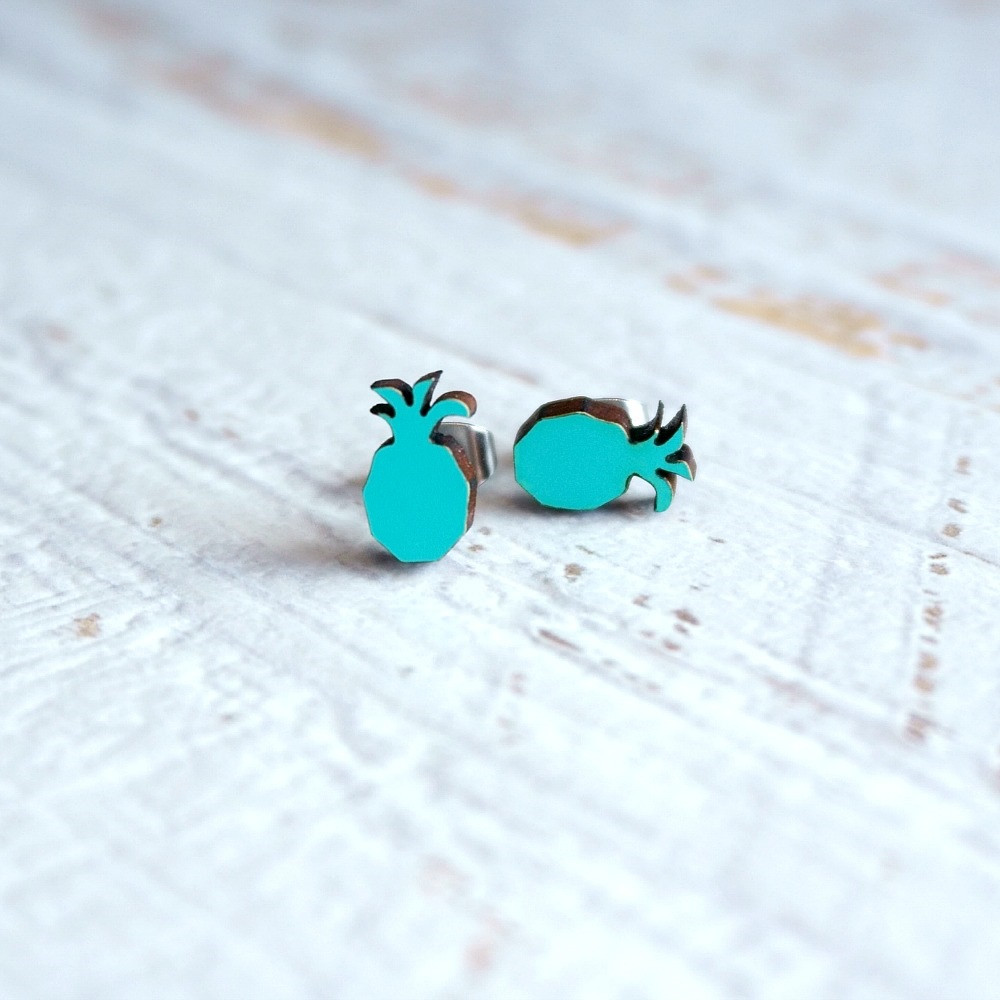 Laser Cut Wooden Stud Earrings 'Pineapples'- Aqua