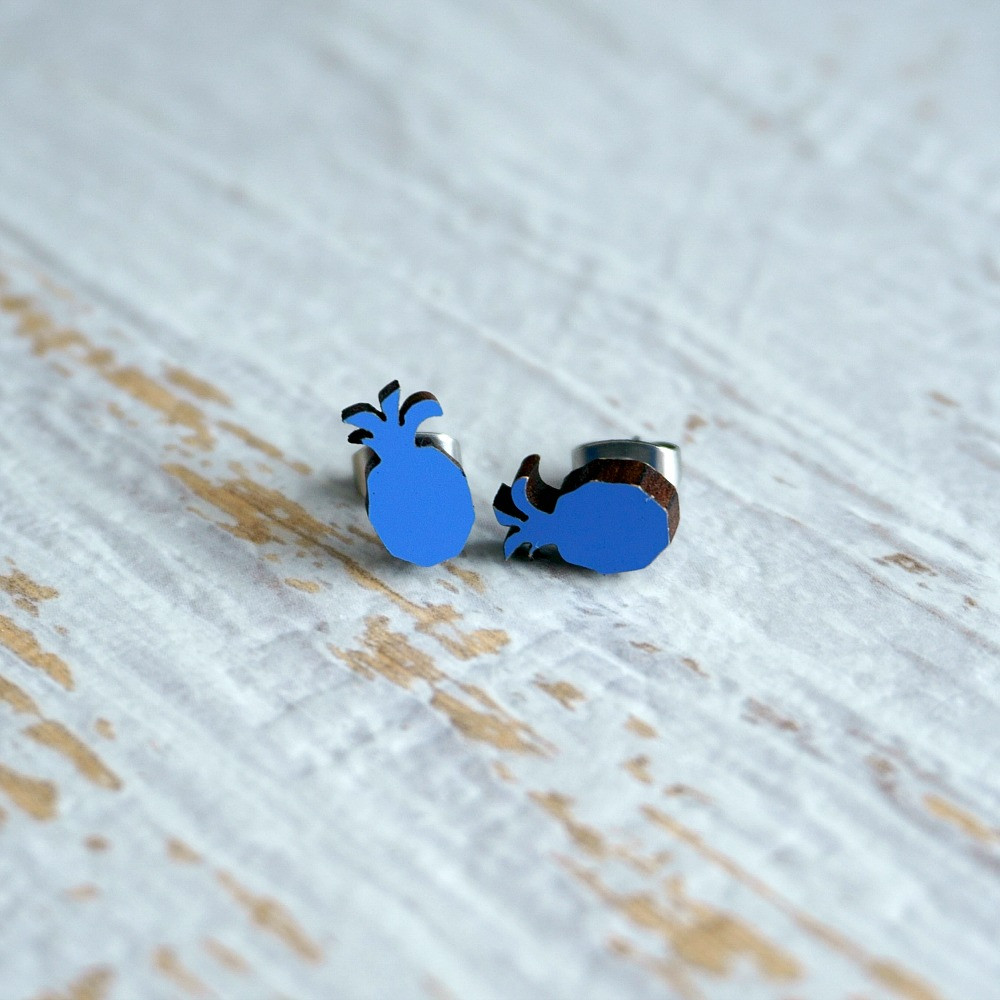 Laser Cut Wooden Stud Earrings 'Pineapples'-Blue