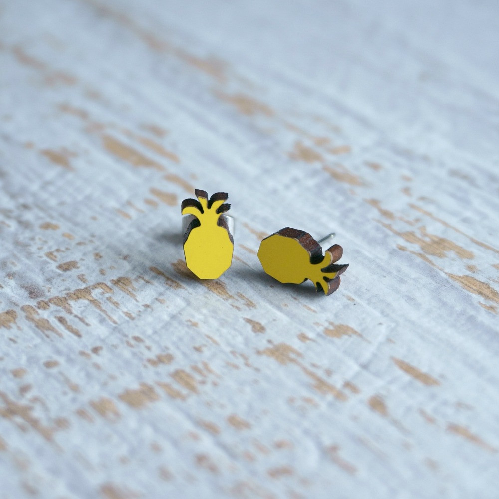 Laser Cut Wooden Stud Earrings 'Pineapples'- Yellow