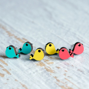 Laser Cut Wooden Stud Earrings – Birds (3 Colours)