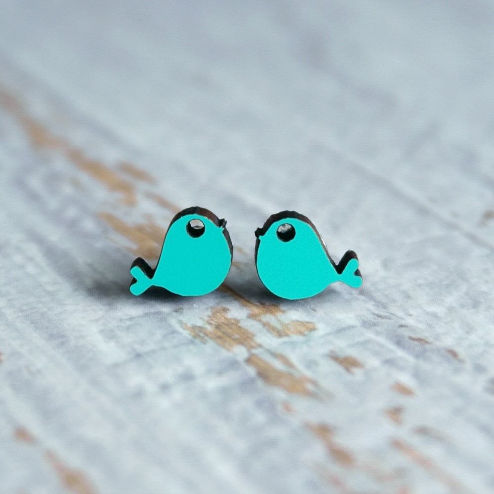 Laser Cut Wooden Stud Earrings 'Birds'- (Aqua)