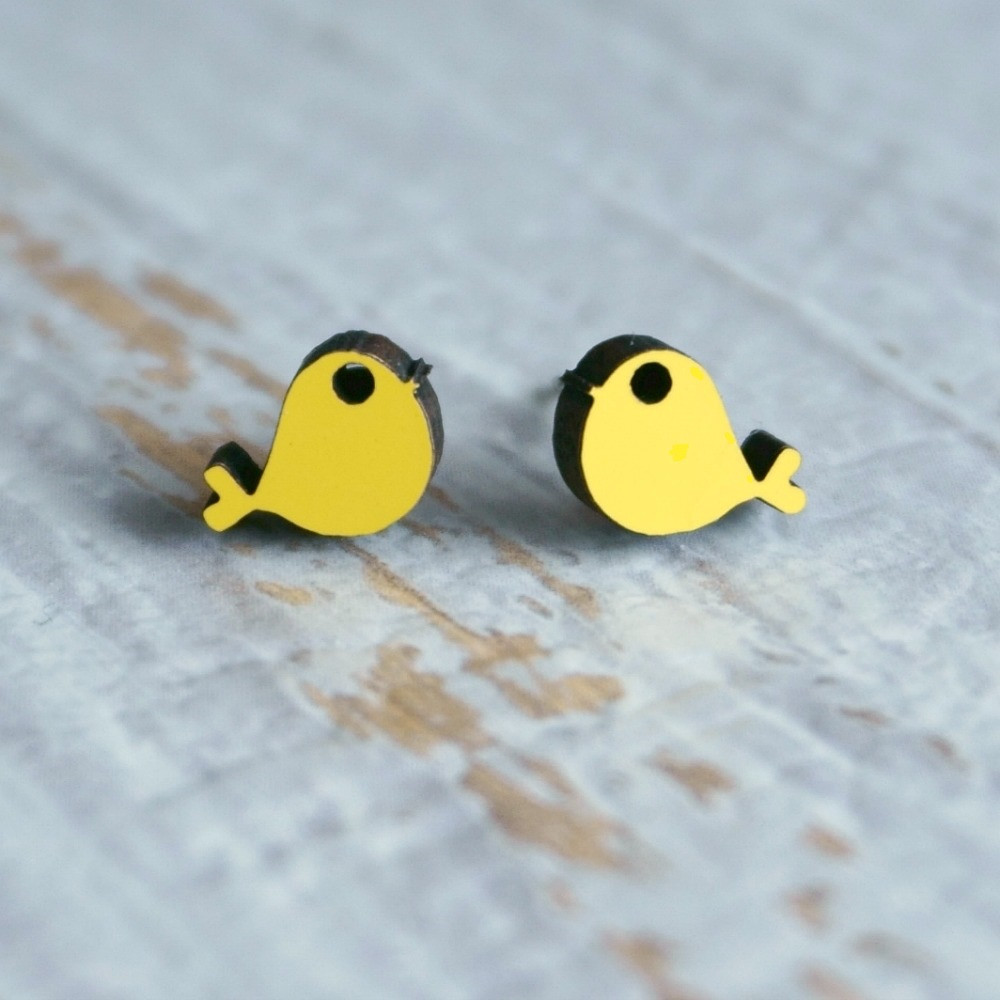 Laser Cut Wooden Stud Earrings 'Birds'- (Yellow)