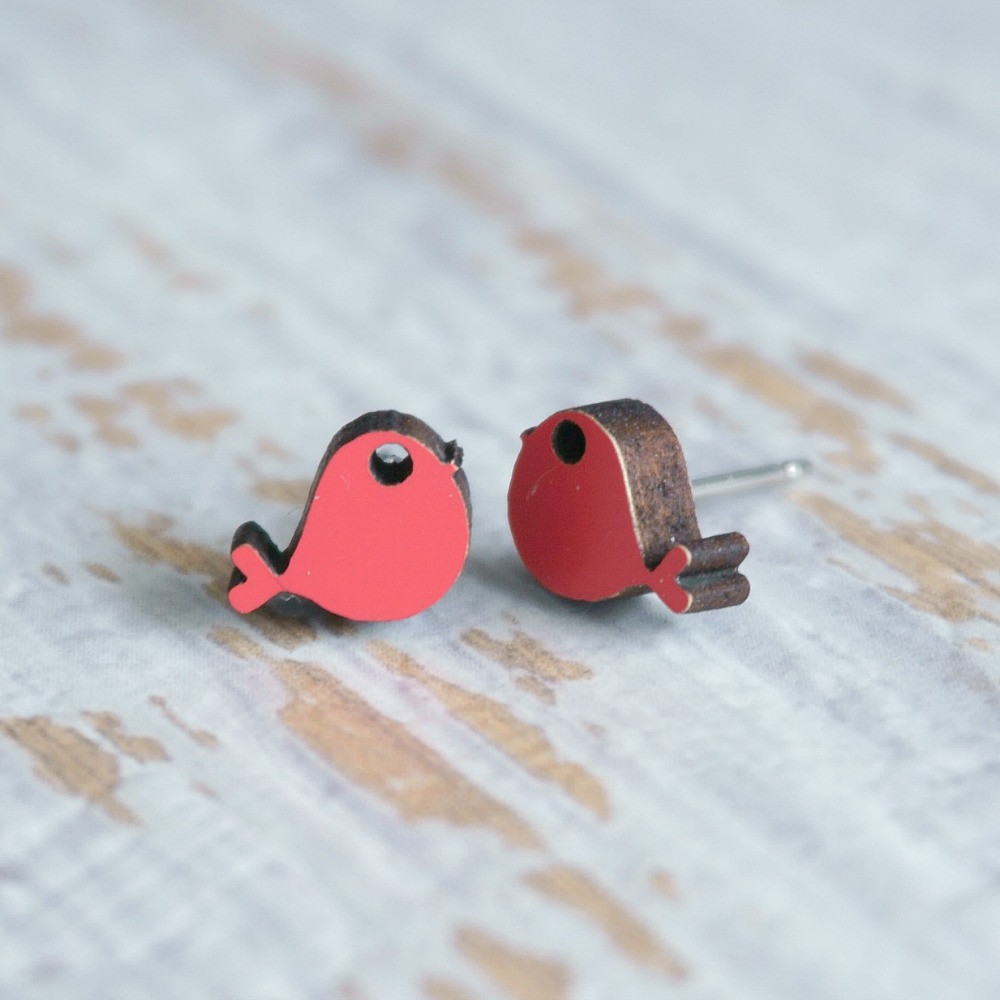 Laser Cut Wooden Stud Earrings 'Birds'- (Watermelon)