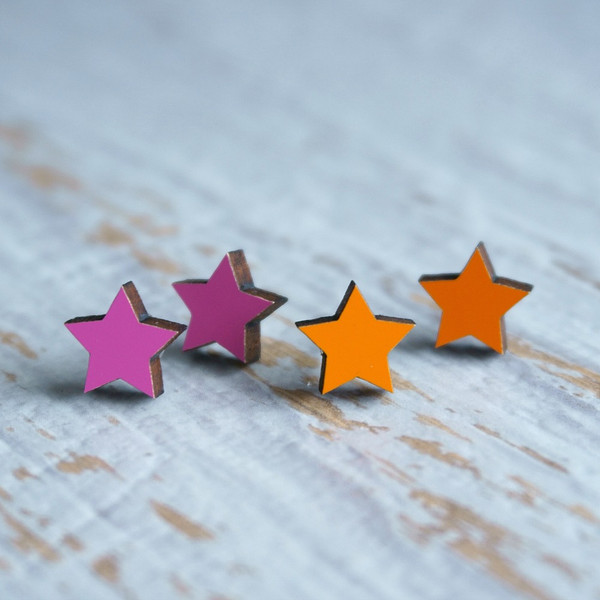 Laser Cut Wooden Stud Earrings – Stars (Pink or Orange)