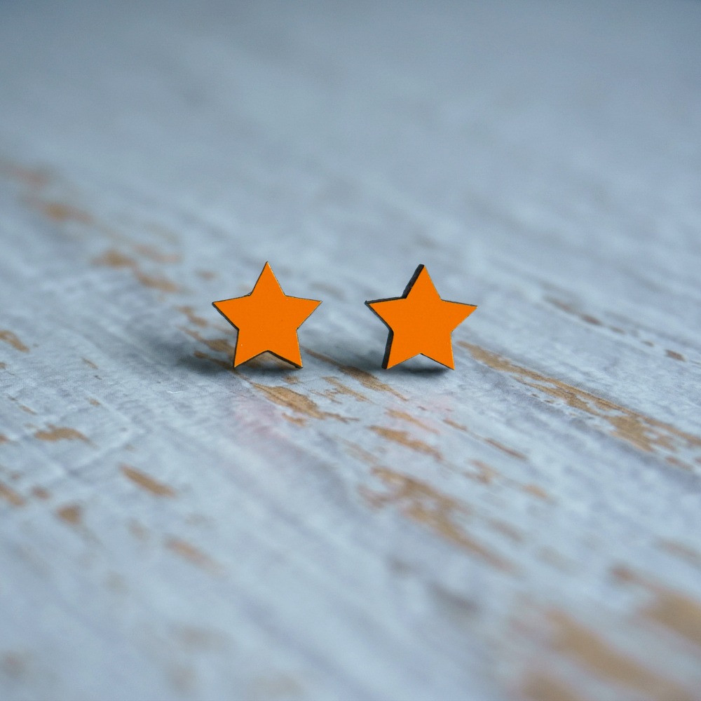 Laser Cut Wooden Stud Earrings 'Stars'- Orange