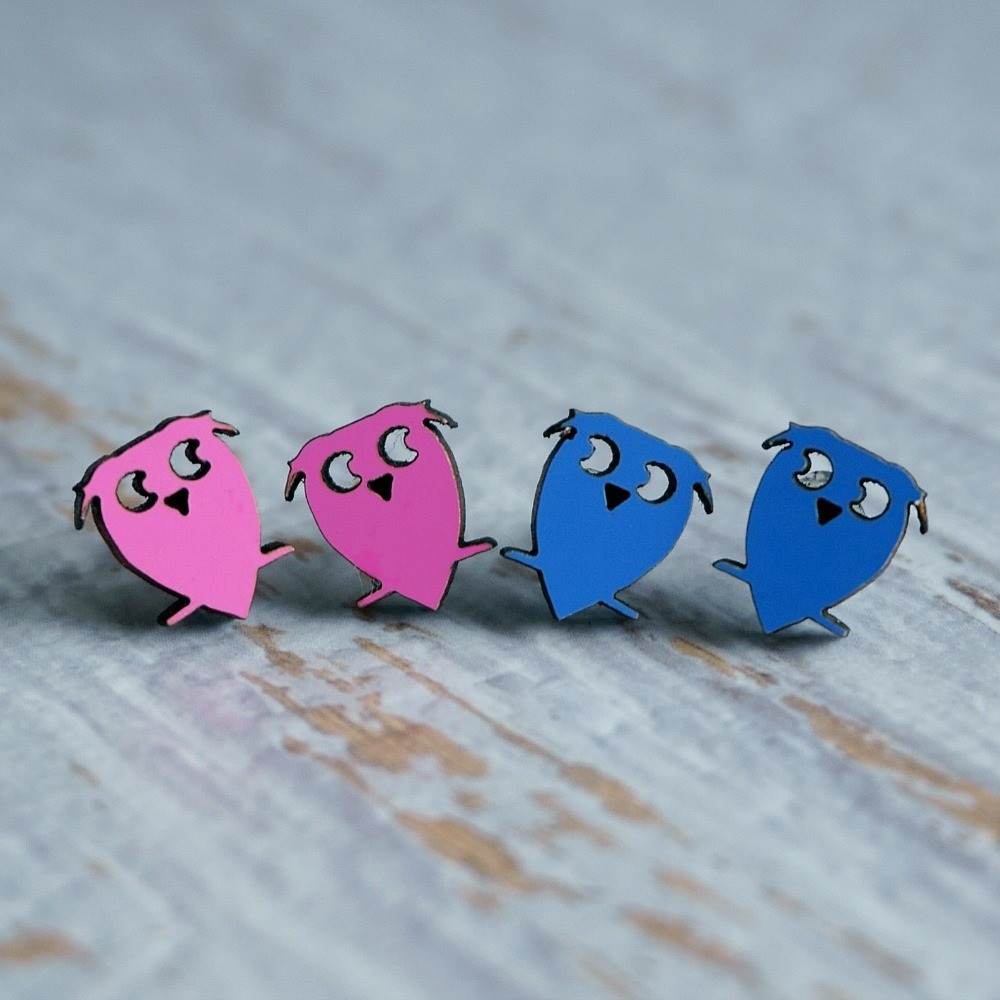 Laser Cut Wooden Stud Earrings – Owls (Pink or Blue)