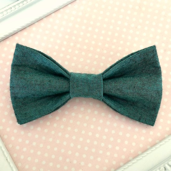 Boys Cotton Clip On Bow Tie - Peacock
