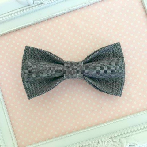 Boys Cotton Clip On Bow Tie - Charcoal