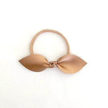 Leather Knotted Bow Headband - Rose Gold