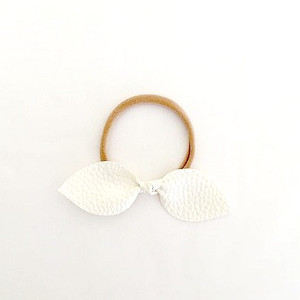 Leather Knotted Bow Headband - White