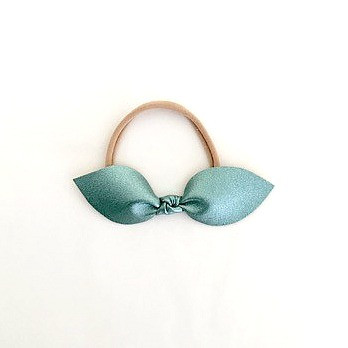 Leather Knotted Bow Headband - Metallic Mint