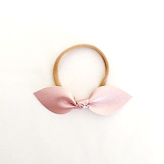 Leather Knotted Bow Headband - Metallic Blush Pink