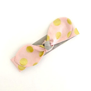 Reversible Knotted Headband - Pink / Gold Dots & Pale Grey