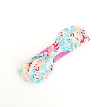 Reversible Knotted Headband - Blue Floral & Sorbet Pink