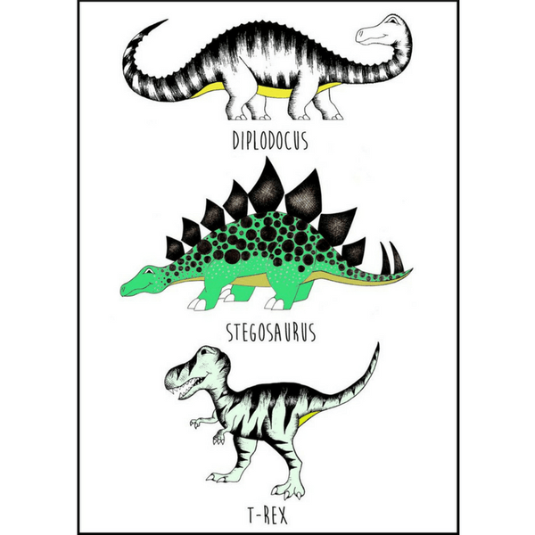 Dino Raw - The Land of Dinosaurs Print - Blue A3