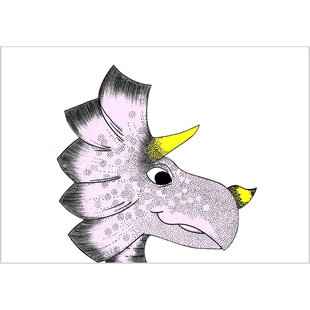 Dino Raw Triceratops Dinosaur A3 Print A Whole Lot of Love