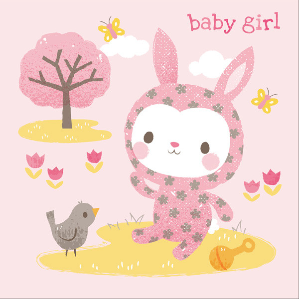 Greeting Card - Baby Girl by Tiger Tribe