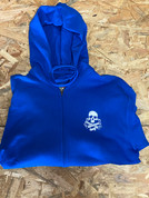 RIDE SKULL AND CRANKS ZIP HOODIE SMALL BLUE