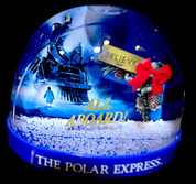 "The Polar Express™ Snow Globe - ""All Aboard!"" Train with Pine Cone Ribbon"