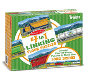 Melissa & Doug® 4-in-1 Linking Floor Puzzles: Trains