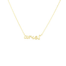 Aries Zodiac Script Necklace