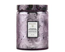 Large Embossed Glass Jar Candle, Japanese Plum Blossom