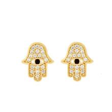 Crystal Hamsa Stud Earring Gold