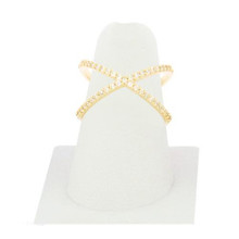 Crystal X Ring Sz 7 Gold