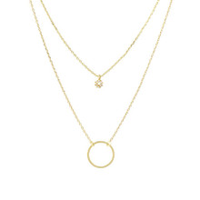 Crystal Hoop Necklace Gold