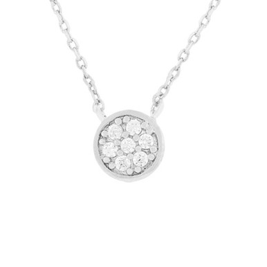 Crystal Station Necklace Silver