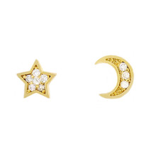 Tiny Crystal Moon and Star Stud Earring