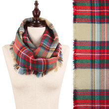 Plaid Blanket Scarf Khaki