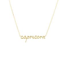 Capricorn Zodiac Script Necklace