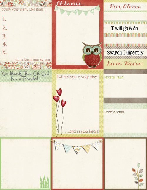 """8-1/2 x 11"" PDF download.  Print and Cut and you have yourself some pretty cute notecards to compliment your note-taking during conference."