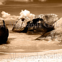 The Boulders Sepia Canvas